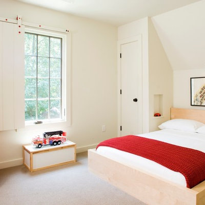 Inspiration for a small transitional gender-neutral carpeted kids' room remodel in Other with white walls
