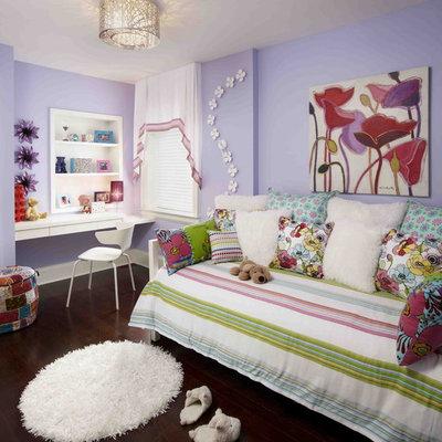 Kids' room - mid-sized eclectic girl dark wood floor kids' room idea in Toronto with purple walls