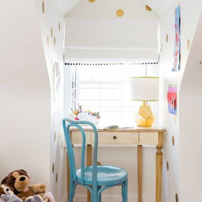 Inspiration for a transitional gender-neutral medium tone wood floor kids' study room remodel in Boston with multicolored walls