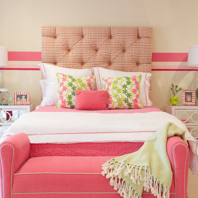 Large transitional girl kids' room photo in New York with multicolored walls