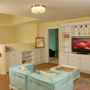 Inspiration for an eclectic carpeted kids' room remodel in Grand Rapids with yellow walls