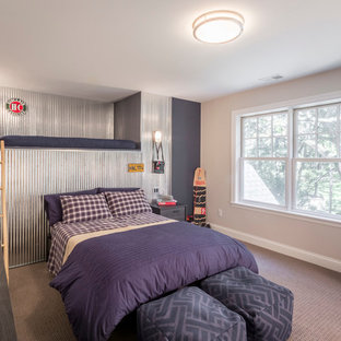 Mid-sized urban carpeted kids' room photo in Minneapolis with beige walls