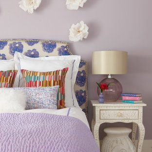 Mid-sized elegant girl carpeted kids' bedroom photo in Providence with purple walls