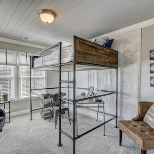 Kids' room - mid-sized industrial boy carpeted kids' room idea in Charleston with gray walls