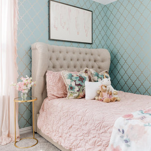 Inspiration for a beach style girl carpeted and gray floor kids' bedroom remodel in Houston with blue walls