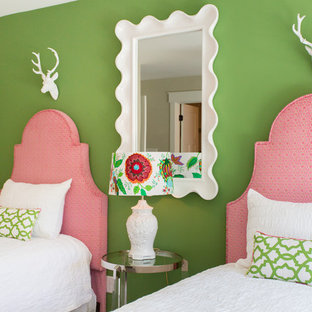 Transitional girl kids' bedroom photo in Richmond with multicolored walls