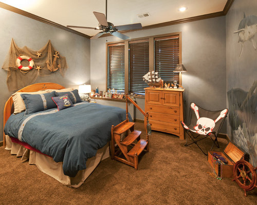 Example Of A Coastal Gender Neutral Carpeted Kidsu0027 Bedroom Design In Kansas  City With