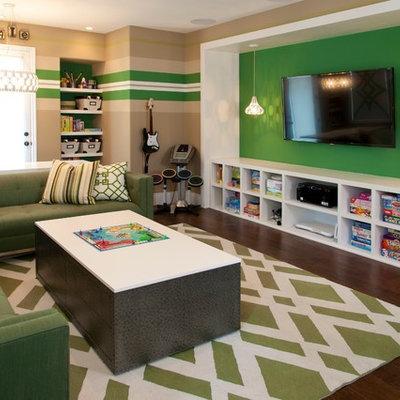 Trendy gender-neutral dark wood floor playroom photo in San Diego with multicolored walls