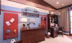 Robeson Design Little Boy Bedroom Storage Solutions with a Sports Theme