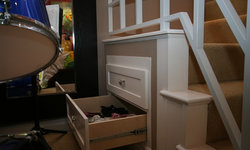 Robeson Design Recessed Drawers tucked into Staircase for Bedroom  Storage Solut