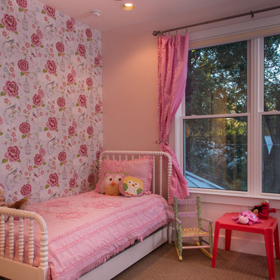 Kids' room - eclectic girl kids' room idea in Austin with multicolored walls