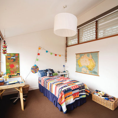 Inspiration for a small contemporary boy carpeted kids' room remodel in Sydney with white walls