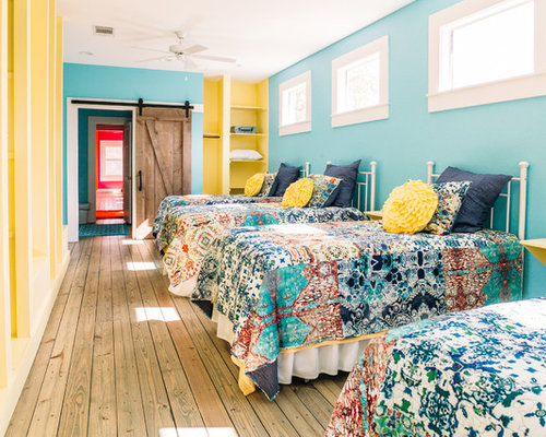 Country Girl Light Wood Floor And Brown Floor Kidsu0027 Room Photo In Austin  With Blue