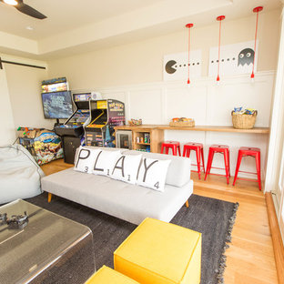 Photo of a large contemporary kids' room in Dallas with light hardwood floors.