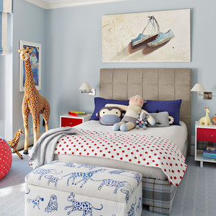 Example of a mid-sized transitional boy carpeted and gray floor kids' room design in San Francisco with blue walls