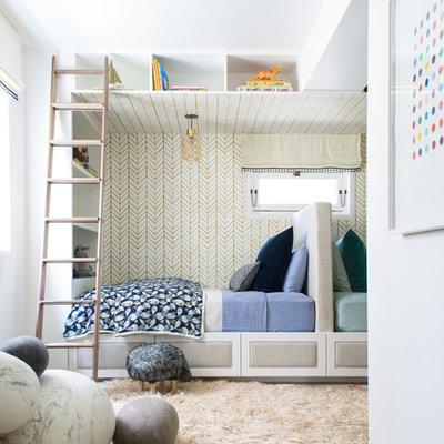 Kids' bedroom - transitional gender-neutral light wood floor kids' bedroom idea in San Francisco with white walls