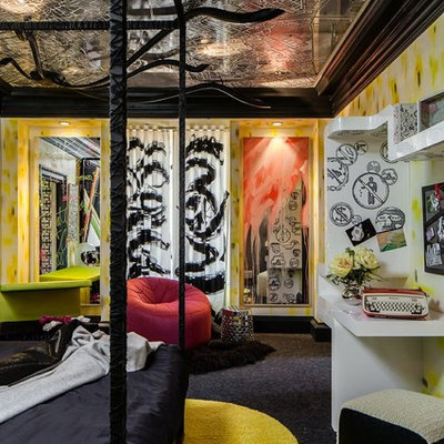 Example of an eclectic boy carpeted kids' room design in San Francisco