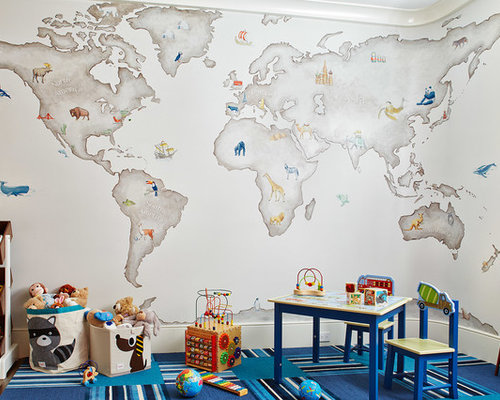 World map mural wallpaper houzz mid sized transitional boy carpeted and multicolored floor playroom photo in san francisco with multicolored gumiabroncs Choice Image