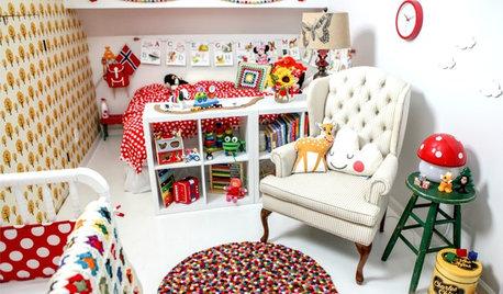 In diesem bunten Babyzimmer muss sich Spielzeug nicht verstecken!