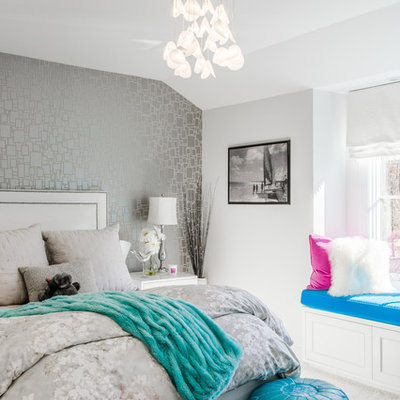 Inspiration for a transitional girl carpeted kids' room remodel in New York with gray walls