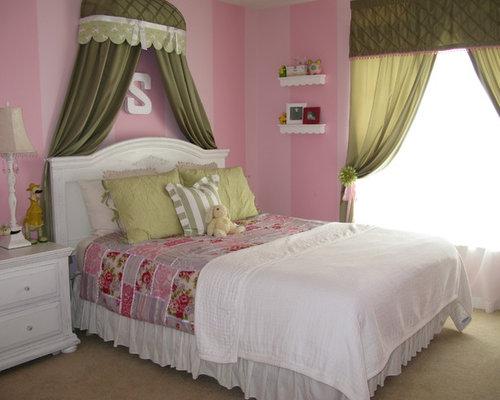 Pink Striped Girls Bedroom