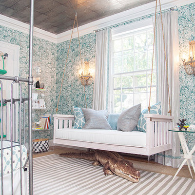 Example of an eclectic gender-neutral kids' room design in New York