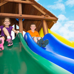 Side by Side Slides - Two 14' heavy duty, double wall wave slides. This unique play set slide is designed to increase the speed and fun for your kids.