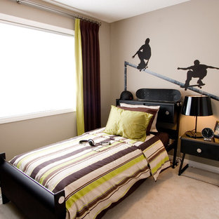 Trendy boy carpeted kids' room photo in Calgary with brown walls