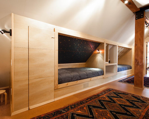 Built in bed houzz for Bunk beds built into wall