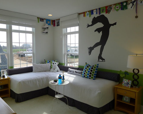 Example of a trendy kids  room design in DC Metro with white walls. Two Twin Beds   Houzz