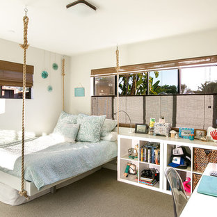 Inspiration for a coastal girl carpeted and gray floor kids' room remodel in San Diego with gray walls