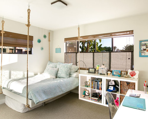 teenage girls bedrooms. Inspiration for a beach style girl carpeted and gray floor kids  room remodel in San Teenage Girls Bedroom Ideas Houzz