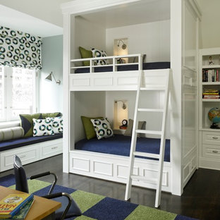 Example of a classic gender-neutral dark wood floor kids' room design in Chicago with white walls