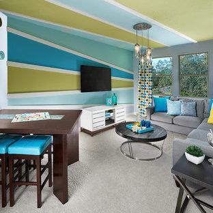 Imagen de dormitorio infantil ecléctico, de tamaño medio, con paredes azules y moqueta