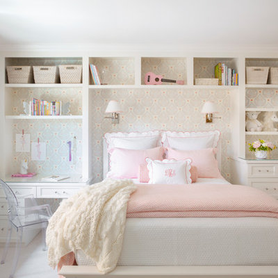 Kids' room - transitional girl carpeted and beige floor kids' room idea in San Francisco with multicolored walls