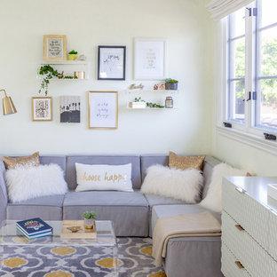 Kids' room - large contemporary girl dark wood floor and brown floor kids' room idea in Los Angeles with beige walls