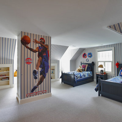 Inspiration for a timeless boy carpeted kids' room remodel in New York