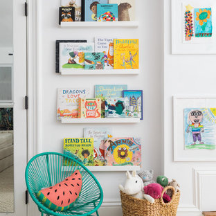 Kids' room - transitional gender-neutral carpeted and beige floor kids' room idea in Boston with white walls