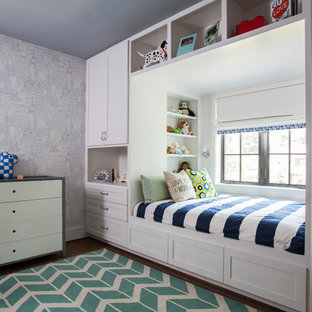 Transitional dark wood floor kids' bedroom photo in Houston with multicolored walls