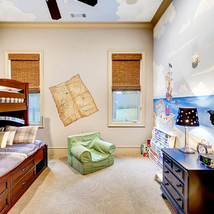 Inspiration for a mid-sized transitional boy carpeted kids' room remodel in Dallas with multicolored walls