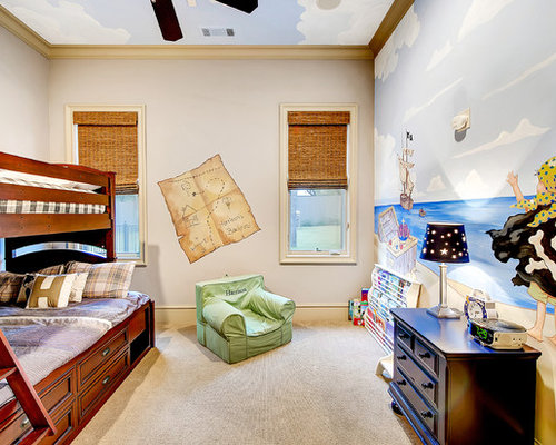 Inspiration For A Mid Sized Transitional Boy Carpeted Kidsu0027 Bedroom Remodel  In Dallas With