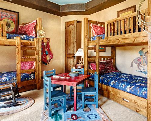 cowboy living room. Southwestern gender neutral carpeted kids  bedroom idea in Phoenix with beige walls Cowboy Room Houzz