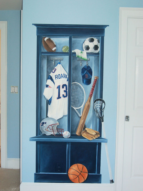 Boys locker room mural home design ideas pictures for Decorative lockers for kids rooms