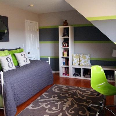 Kids' room - contemporary gender-neutral medium tone wood floor kids' room idea in Philadelphia