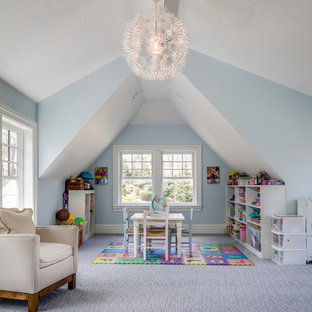 Mid-sized transitional gender-neutral carpeted and gray floor playroom photo in New York with blue walls