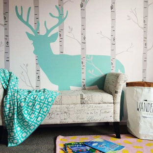 Mid-sized trendy gender-neutral carpeted and gray floor kids' room photo in Christchurch with white walls