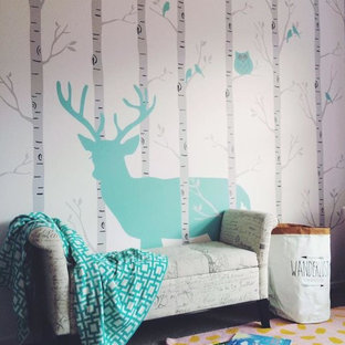Kids' room - mid-sized contemporary gender-neutral carpeted and gray floor kids' room idea in Christchurch with white walls