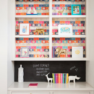 Kids' room - small transitional girl kids' room idea in Portland with multicolored walls