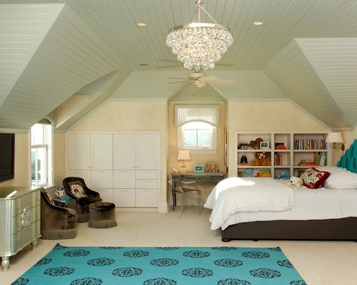 Example Of An Eclectic Girl Carpeted Kidsu0027 Room Design In Charleston With Beige  Walls