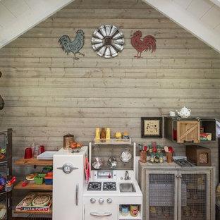 Playroom - farmhouse playroom idea in Dallas with brown walls